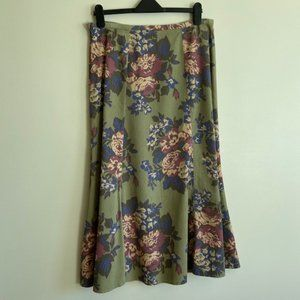 Boden green  corduroy skirt with floral pattern